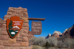 National Park Service welcome sign, entrance of Zion National Park, Utah, United States of America