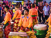 "08 FEBRUARY 2016 - BANGKOK, THAILAND:  Drummers perform for Chinese New Year's in front of a Chinese temple in Bangkok's Chinatown district during the celebration of the Lunar New Year. Chinese New Year is also called Lunar New Year or Tet (in Vietnamese communities). This year is the ""Year of the Monkey."" Thailand has the largest overseas Chinese population in the world; about 14 percent of Thais are of Chinese ancestry and some Chinese holidays, especially Chinese New Year, are widely celebrated in Thailand.      PHOTO BY JACK KURTZ"