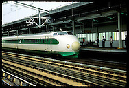 Bullet train (Shinkansen), capable of 150 mph, stops @ Utsunomiya station southbound to Tokyo. Japan