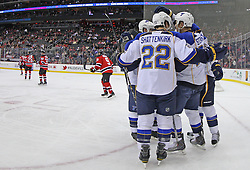 Feb 9; Newark, NJ, USA; The St. Louis Blues celebrate a goal by St. Louis Blues defenseman Alex Pietrangelo (27) during the first period at the Prudential Center.