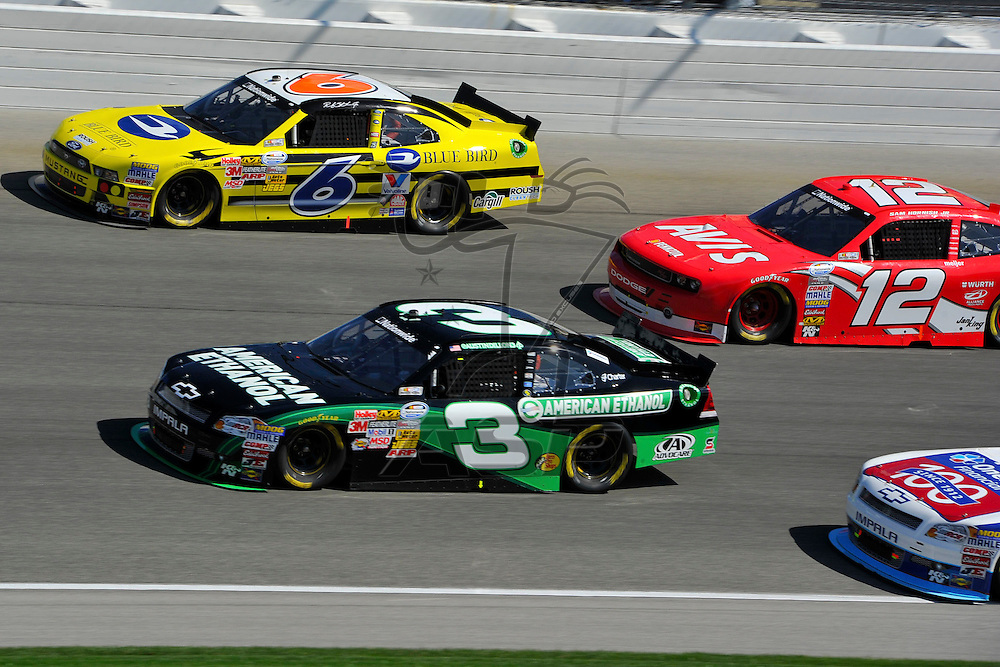 Joliet,Il - Sep 15, 2012: Ricky Stenhouse, Jr. (6) and Austin Dillon (3) race side by side during race action for the Dollar General 300 at Chicagoland Speedway in Joliet, Il.