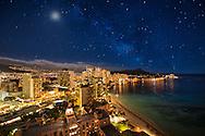 USA, Hawaii, Oahu, Honolulu, Waikiki, stars over Waikiki  (m)