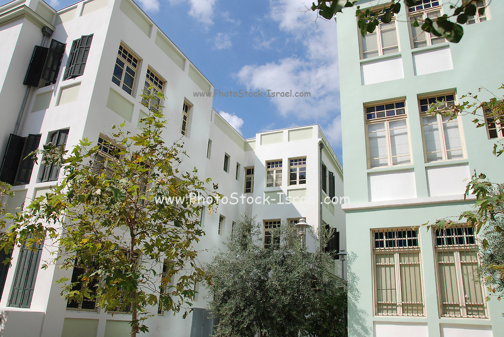 Old Bauhaus style building in Rothschild Boulevard, Tel Aviv, Israel. <br /> UNESCO has declared Tel Aviv an international heritage due to the abundance of the Bauhaus architectural style