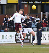 Hearts&rsquo; Sam Nicholson wins an aerial duel with Dundee&rsquo;s Paul McGowan - Dundee v Hearts - Ladbrokes Premiership at Dens Park <br />  - &copy; David Young - www.davidyoungphoto.co.uk - email: davidyoungphoto@gmail.com