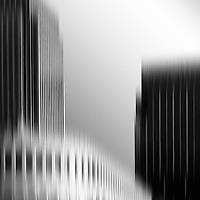 The abstract blurred skyscrapers of the financial hub of Canary Wharf, London.