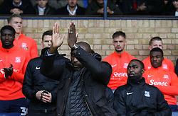 Southend United manager Sol Campbell acknowledges the fans as he is introduced - Mandatory by-line: Arron Gent/JMP - 27/10/2019 - FOOTBALL - Roots Hall - Southend-on-Sea, England - Southend United v Ipswich Town - Sky Bet League One