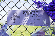 "Prince Rogers Nelson 1958-2016 ""Gone but not forgotten"" ""Love Symbol"" poster. Paisley Park Studios Chanhassen Minnesota MN USA"