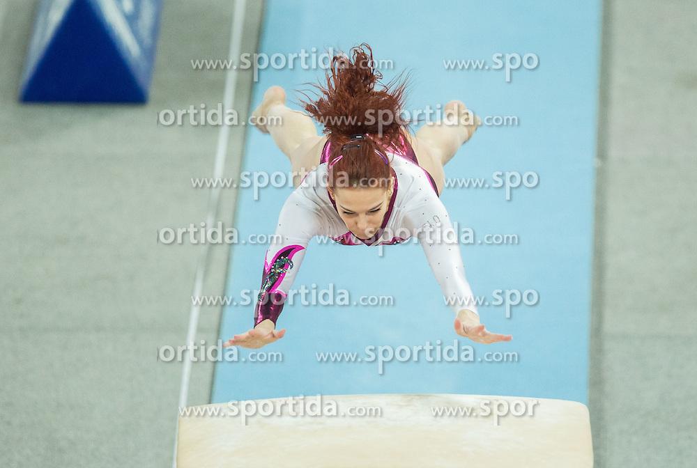 Tjasa Kysselef of Slovenia competes in the Vault during Final of Artistic Gymnastics World Challenge Cup Ljubljana, on April 4, 2015 in Arena Stozice, Ljubljana, Slovenia. Photo by Vid Ponikvar / Sportida