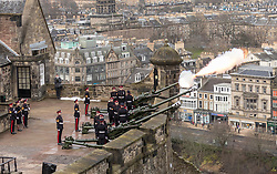 105 Regiment Royal Artillery fire a 21-gun royal salute to celebrate the 66th anniversary of HM The Queen's accession to the throne.