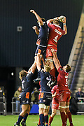 Steve Cummins wins lineout during the Guinness Pro 14 2018_19 match between Edinburgh Rugby and Scarlets at BT Murrayfield Stadium, Edinburgh, Scotland on 2 November 2018.