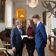 20.11.2016           <br /> Winners of the 2016 All Ireland Scholarships were commended by Rugby Legend, Paul O'Connell at an awards ceremony at the University of Limerick. <br />  Sponsored by JP McManus, the educational scheme is set to provide financial assistance to many high achieving students who completed their Leaving Certificat/A Level examinations in 2016. <br /> <br /> Attending the awards ceremony were, JP McManus with scholarship recipients, Chloe Carrick, Ballinasloe Co. Galway and Conor Gaffney, Wexford Town. Picture: Alan Place