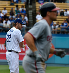June 7, 2017 - Los Angeles, California, U.S. - Los Angeles Dodgers starting pitcher Clayton Kershaw (22) looks down toward the plate as Washington Nationals' Ryan Zimmerman rounds third base after hitting a solo home run in the second inning of a Major League baseball game at Dodger Stadium on Wednesday, June 7, 2017 in Los Angeles. (Photo by Keith Birmingham, Pasadena Star-News/SCNG) (Credit Image: © San Gabriel Valley Tribune via ZUMA Wire)
