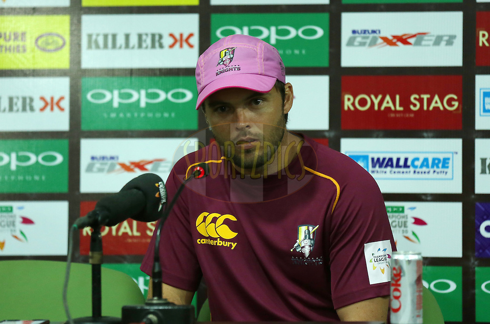 Daniel Flynn Captain of Northern Knights addresses a press conference after they won the match by D/L system after match 3 of the Oppo Champions League Twenty20 between the Cape Cobras and the Northern Knights held at the Chhattisgarh International Cricket Stadium, Raipur, India on the 19th September 2014<br /> <br /> Photo by:  Sandeep Shetty / Sportzpics/ CLT20<br /> <br /> <br /> Image use is subject to the terms and conditions as laid out by the BCCI/ CLT20.  The terms and conditions can be downloaded here:<br /> <br /> http://sportzpics.photoshelter.com/gallery/CLT20-Image-Terms-and-Conditions-2014/G0000IfNJn535VPU/C0000QhhKadWcjYs