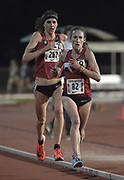 Carrie Dimoff and Gwen Jorgensen  lead the women's 10,000m in the Stanford Invitational in Stanford, Calif., Friday, Mar 30, 2018. Jorgensen won in 31:55.68. Dimoff was second in 31:57.85. (Gerome Wright/Image of Sport)