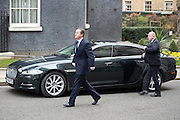 © London News Pictures. 30/03/2015 . David Cameron arrives back from the palace. British prime minister DAVID CAMERON and deputy prime minister NICK CLEGG leave Number 10 Downing Street in London to travel to Buckingham Palace to inform the Queen of the dissolution of Parliament ahead of the general election. Photo credit : Stephen Simpson/LNP