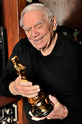 """Ernest Borgnine with the Oscar he won for """"Marty."""" Borgnine will be honored with a Screen Actors Guild Lifetime Acheivement Award on January 30. Beverly Hills, CA 1-21-2011. (John McCoy/staff photographer)"""