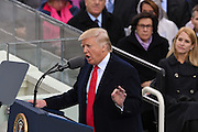 President Donald Trump delivers his Inaugural address after taking the oath of office to become the 45th President of the United States of America on Capitol Hill January 20, 2017 in Washington, DC.