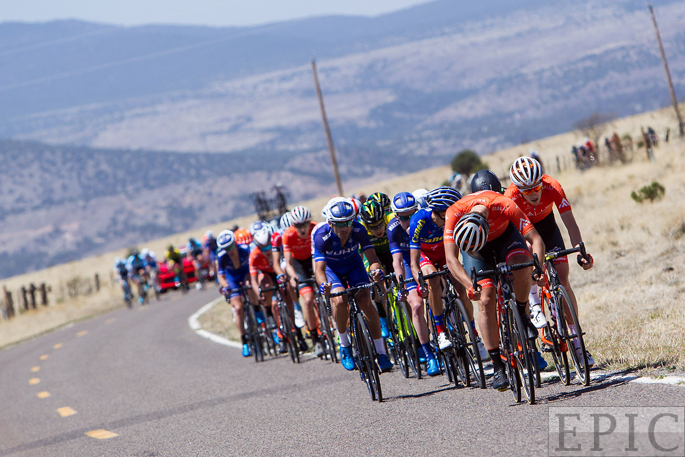 SILVERY CITY, NM - APRIL 18: Rally riders work on the front to split the field on stage 1 of the Tour of The Gila on April 18, 2018 in Silver City, New Mexico. (Photo by Jonathan Devich/Epicimages.us)