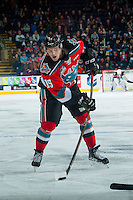 KELOWNA, CANADA - NOVEMBER 5: Tomas Soustal #15 of the Kelowna Rockets takes a slap shot against the Medicine Hat Tigers on November 5, 2016 at Prospera Place in Kelowna, British Columbia, Canada.  (Photo by Marissa Baecker/Shoot the Breeze)  *** Local Caption ***