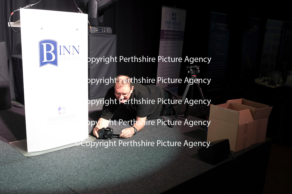 Perthshire Chamber of Commerce Business Star Awards 2017…Crieff Hydro Hotel<br />Ian Johnston setting up a camera<br />Picture by Graeme Hart. <br />Copyright Perthshire Picture Agency<br />Tel: 01738 623350  Mobile: 07990 594431