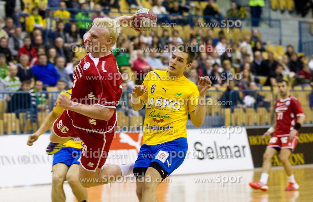 Patrick Wiencek of Gummersbach during 1st Leg handball match between RK Celje Pivovarna Lasko vs VfL Gummersbach (GER) in  Semifinals of EHF 2011/12 Men's Cup Winners' Cup, on April 22, 2012 in Arena Zlatorog, Celje, Slovenia.  (Photo by Vid Ponikvar / Sportida.com)