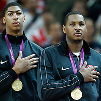 12 August 2012: USA Anthony Davis and Andre Iguodala stand during the National Anthem following 107-100 Team USA victory over Team Spain, during the men's Gold Medal Game, at the North Greenwich Arena, in London, Great Britain.