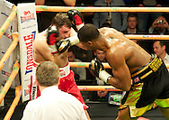 Picture by Alan Stanford/Focus Images Ltd +44 7915 056117<br /> 14/11/2013<br /> Anthony Joshua hits Hrvoje Kisicek with a hard right hand during their heavyweight contest at York Hall, Bethnal Green.