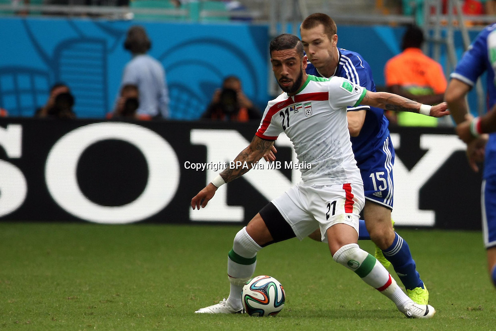 Ashkan DEJAGAH. Bosnia v Iran, group match. FIFA World Cup 2014 Brazil. Fonte Nova, Salvador. 25 June 2014.