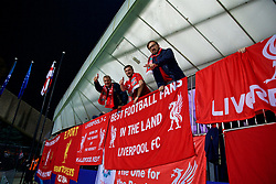 """MARIBOR, SLOVENIA - Tuesday, October 17, 2017: Liverpool supporters' banner """"Best football fans in the land"""" during the UEFA Champions League Group E match between NK Maribor and Liverpool at the Stadion Ljudski vrt. (Pic by David Rawcliffe/Propaganda)"""