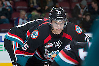 KELOWNA, CANADA - NOVEMBER 6: Colton Heffley #25 of the Kelowna Rockets faces off against the Red Deer Rebels on NOVEMBER 6, 2013 at Prospera Place in Kelowna, British Columbia, Canada.   (Photo by Marissa Baecker/Shoot the Breeze)  ***  Local Caption  ***