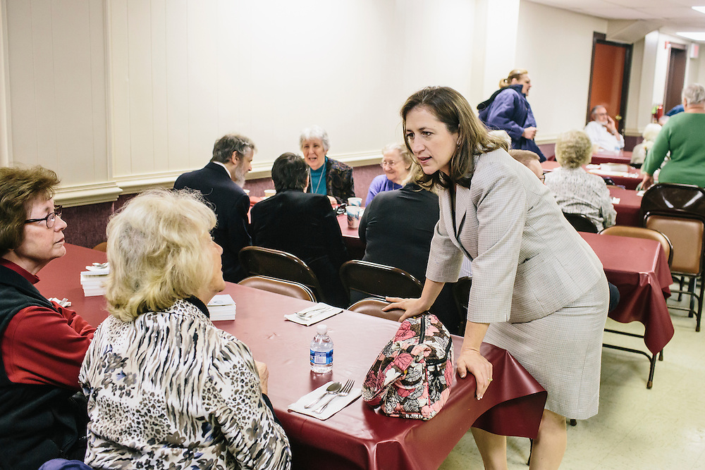 West Virginia Secretary of State Natalie Tennant greets guests at Romney First United Methodist Church in Romney, W.V. during a Lenten Luncheon on Wednesday, April 16, 2014. Tennant is running for a US Senate seat in West Virginia against Republican Rep. Shelley Moore Capito.
