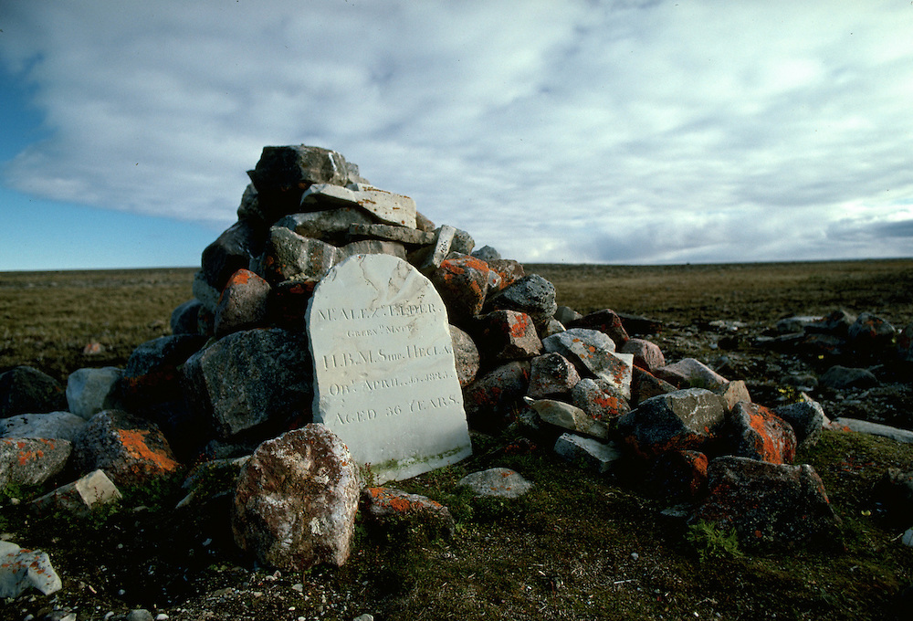 Images from assignment work in Igloolik, Eastern Canadian Artic, in 1985-1986.  Igloolik is an Inuit community with traditional hunting and fishing and a strong sense of self government. Alex Elder grave.  Elder died in 1823.  He was on Admiral Perry's ship the Hecla that wintered in Turton Bay in 1823.