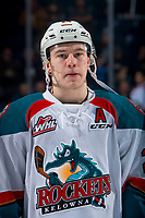 KELOWNA, CANADA - FEBRUARY 23: Kyle Topping #24 of the Kelowna Rockets lines up against the Kamloops Blazers on February 23, 2019 at Prospera Place in Kelowna, British Columbia, Canada.  (Photo by Marissa Baecker/Shoot the Breeze)