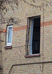 © Licensed to London News Pictures. 15/02/2017. Oxford, UK. The force of the explosion can be seen in damaged windows and brickwork next to a block of flats destroyed in an explosion near Osney Lock in Oxford. A number of people have been injured in what is thought to have been a gas explosion. Photo credit: Peter Macdiarmid/LNP