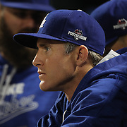 Chase Utley, Los Angeles Dodgers, in the dugout during the New York Mets Vs Los Angeles Dodgers, game four of the NL Division Series at Citi Field, Queens, New York. USA. 13th October 2015. Photo Tim Clayton