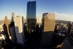 Aerial view of skyscrapers in downtown Houston, Texas from the southeastern side.