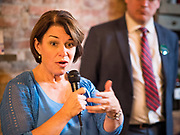 18 OCTOBER 2019 - SIGOURNEY, IOWA: Sen. Klobuchar is on barnstorming bus tour of southeast Iowa this weekend campaigning to be the Democratic nominee for the US Presidency. In addition to campaign meet and greet events, she stopped at a biofuels plant to learn about the difficulties farmers and biofuels producers face because of the trade war with China. Iowa holds the first selection event of the Presidential election cycle. The Iowa caucuses are Feb. 3, 2020.         PHOTO BY JACK KURTZ
