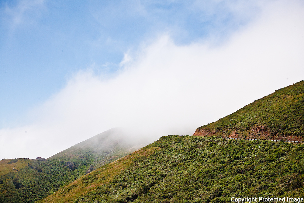 Fog coming in over the Mari  Headlands San Francisco Bay