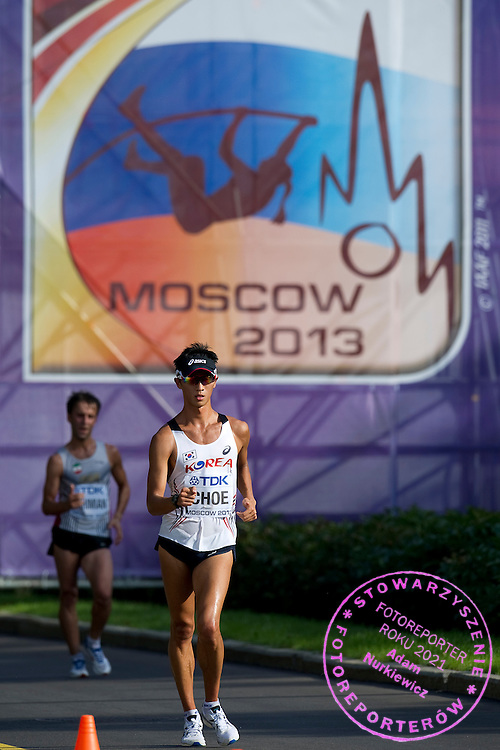 Byeong Kwang Choe from South Korea competes in men's 20 kilometres Race Walk final during the 14th IAAF World Athletics Championships at the Luzhniki stadium in Moscow on August 11, 2013.<br /> <br /> Russian Federation, Moscow, August 11, 2013<br /> <br /> Picture also available in RAW (NEF) or TIFF format on special request.<br /> <br /> For editorial use only. Any commercial or promotional use requires permission.<br /> <br /> Mandatory credit:<br /> Photo by &copy; Adam Nurkiewicz / Mediasport