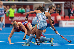 Lily Owsley of Great Britain Women is tackled by Silvina d'Elia of Argentina Women during the 2019 Women's FIH Pro League match at Lee Valley Hockey Centre, Stratford<br /> Picture by Simon Parker/Focus Images Ltd <br /> 18/05/2019