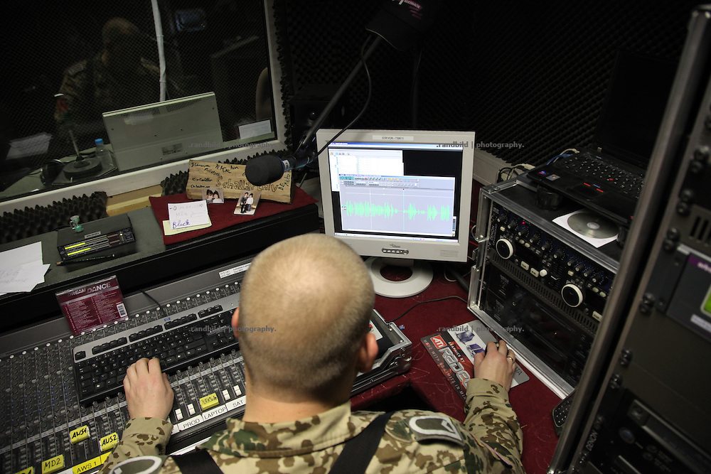 "Broadcast and production studio of ""Radio Andernach"" in Camp Marmal near Mazar-e Sharif, Afghanistan. Radio Andernach proadcasts a programm from german sodiers to german soldiers in mission."
