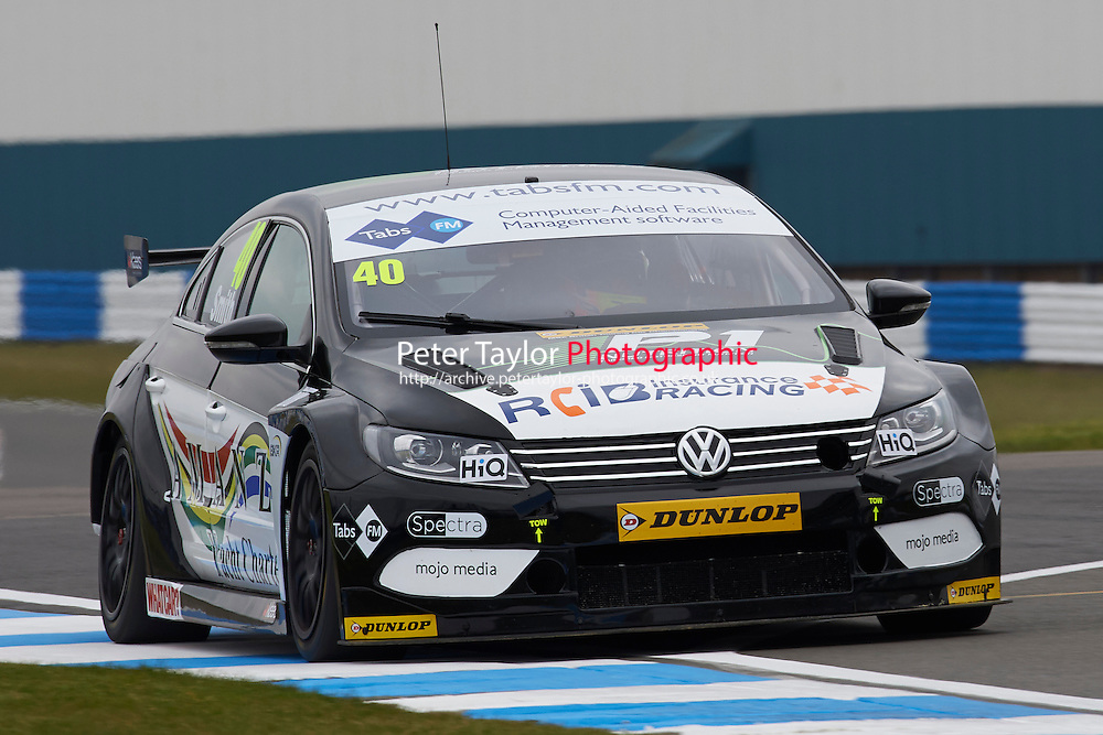 #40 Aron Smith IRL BKR Volkswagen CC during Media Day Test Session as part of the BTCC Media Day at Donington Park, Melbourne, Leicestershire, United Kingdom. March 22 2016. World Copyright Peter Taylor/PSP. Copy of publication required for printed pictures.  Every used picture is fee-liable.