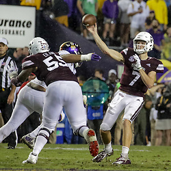 Oct 20, 2018; Baton Rouge, LA, USA; Mississippi State Bulldogs quarterback Nick Fitzgerald (7) against the LSU Tigers during the second quarter at Tiger Stadium. Mandatory Credit: Derick E. Hingle-USA TODAY Sports