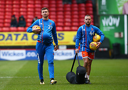 December 23, 2017 - London, United Kingdom - L-R Blackpool's Scott Quigley and Blackpool's Jay Spearing.during Sky Bet  League One match between Charlton Athletic  against Blackpool at The Valley Stadium London on 23 Dec  2017  (Credit Image: © Kieran Galvin/NurPhoto via ZUMA Press)