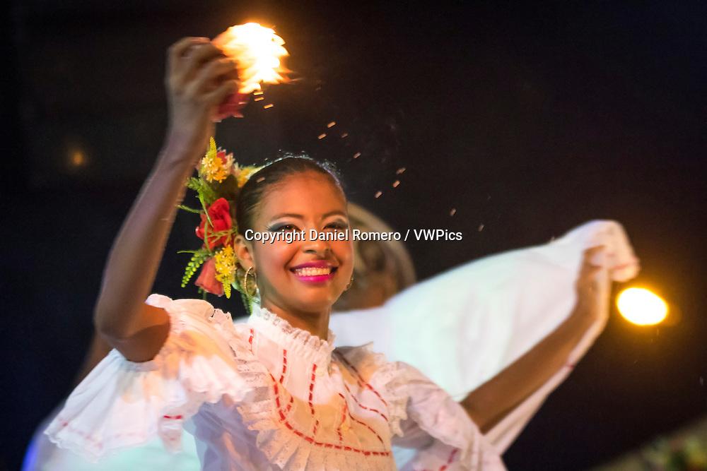 Girl dancing cumbia, XXIX Meeting of the Amphibious Culture, municipality of Talaigua Nuevo, department of Bolivar, Colombia.