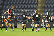 Edinburgh players celebrate victory at the final whistle of the Heineken Champions Cup match between Edinburgh Rugby and Montpellier Herault Rugby at BT Murrayfield Stadium, Edinburgh, Scotland on 18 January 2019.