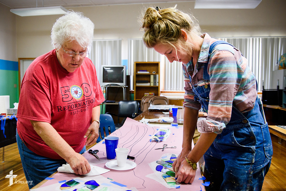 Artist Rachel Ziegler (right) works on her mural project commemorating the 500th anniversary of the Lutheran Reformation with Marilyn Bader at Zion Lutheran Church, Worms, Neb., on Saturday, Sept. 23, 2017. LCMS Communications/Erik M. Lunsford