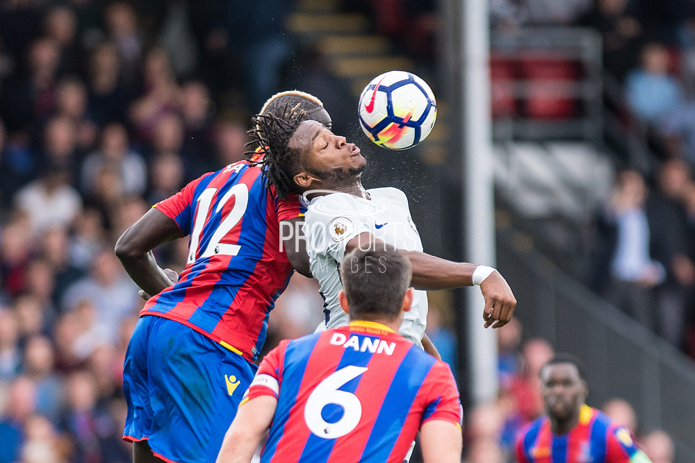 Chelsea (23) Michy Batshuayi, Crystal Palace (12) Mamadou Sakho during the Premier League match between Crystal Palace and Chelsea at Selhurst Park, London, England on 14 October 2017. Photo by Sebastian Frej.