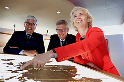 Pictured: <br /> <br /> Diageo CEO Ivan Menezes, David Cutter (chairman, Diageo in Scotland) and Cristina Diezhandino (global scotch whisky director) at launch of investment in visitor centres at Diageo in Edinburgh 16042018 pic by Terry Murden @edinburghelitemedia Terry Murden   EEm 16 April 2018
