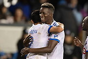 March 2, 2019; San Jose, CA, USA; Montreal Impact defender Zakaria Diallo (5) celebrates with defender Victor Cabrera (2) after the match against the San Jose Earthquakes at Avaya Stadium.
